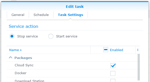 Synology DSM - Create a Task (Settings Tab)