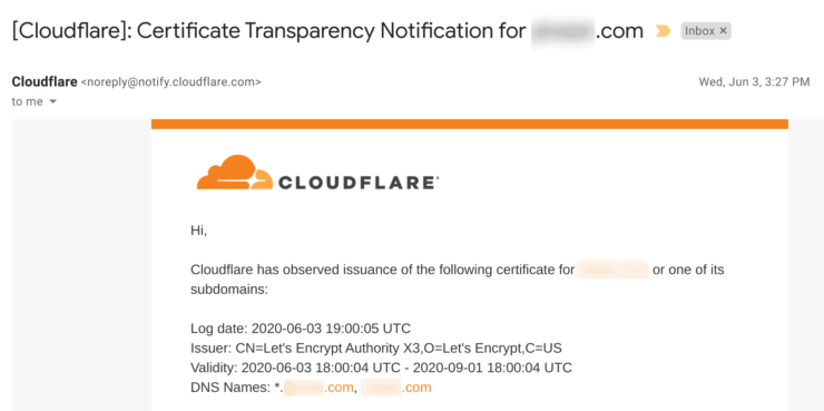 Cloudlfare Certificate Transparency Notification