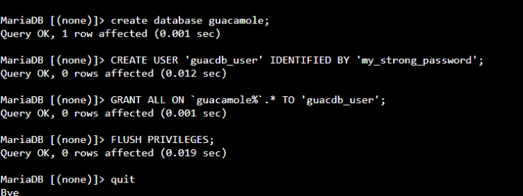 Create MySQL Database and User for Guacamole