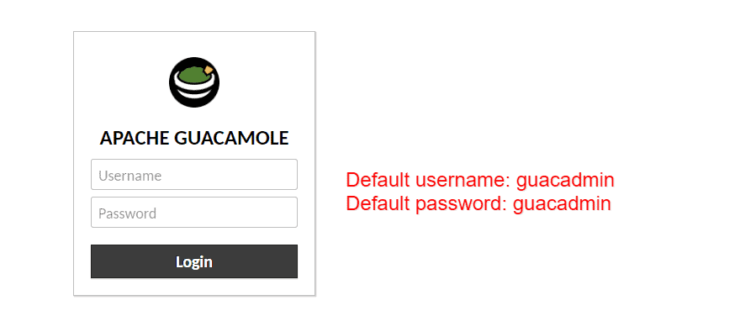"Guacamole Login - Default Username and Password are both ""guacadmin""."