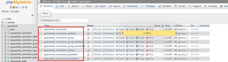 Guacamole MySQL Initialization Check using phpMyAdmin