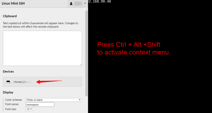 Access SFTP Browser from Guacamole Context Menu (Ctrl+Alt+Shift)