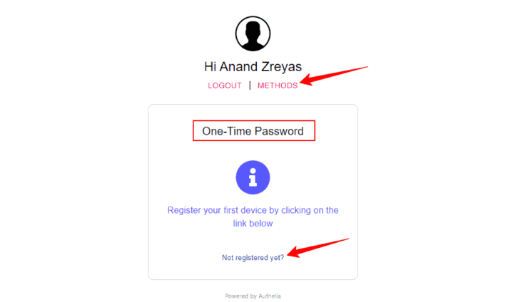 Authelia Docker One Time Password Registration