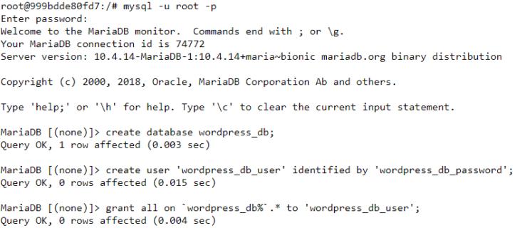Create WordPress MariaDB Database