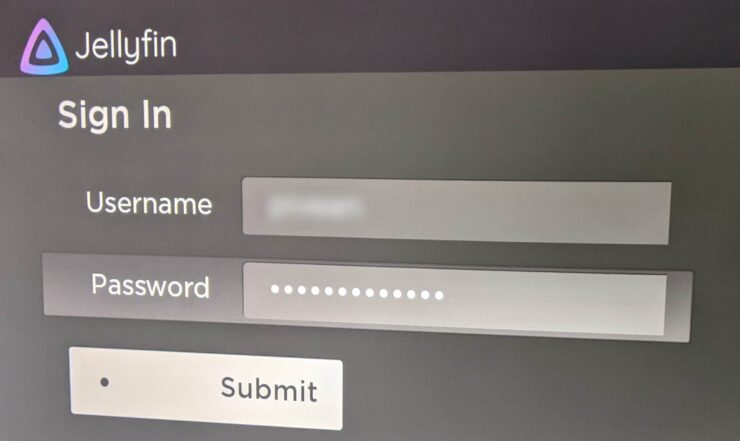 Enter Username and Password on Jellyfin App for Roku