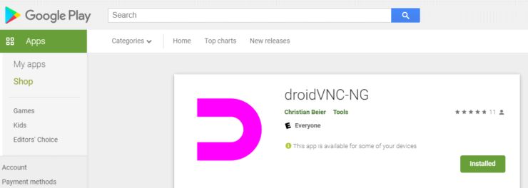 droidVNC-NG App - VNC Server for Android