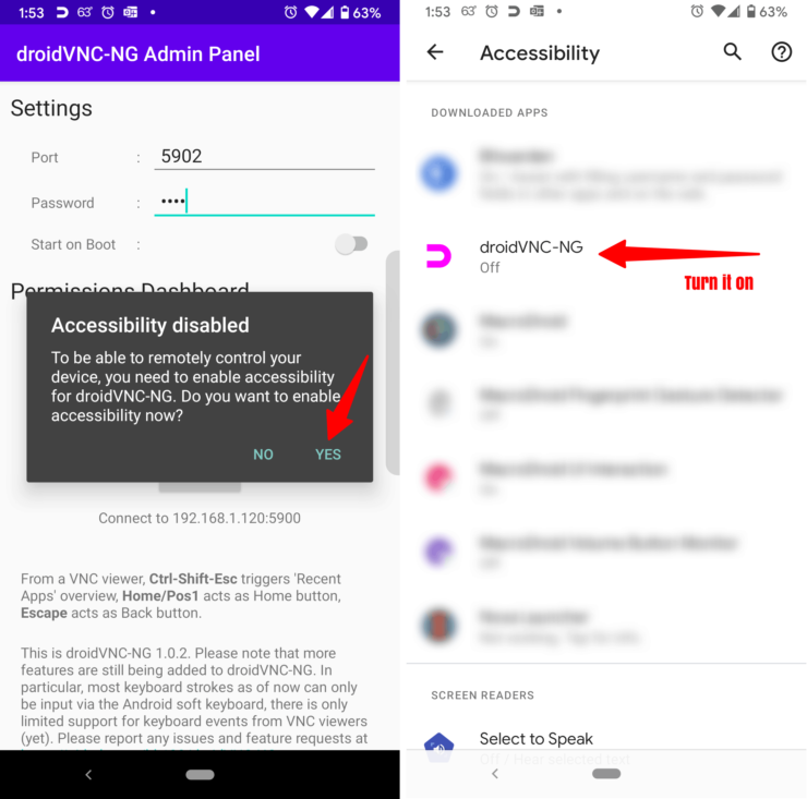Enable Android Accessibility Permissions