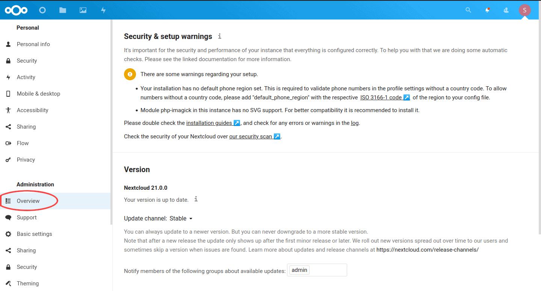 Nextcloud Admin Overview
