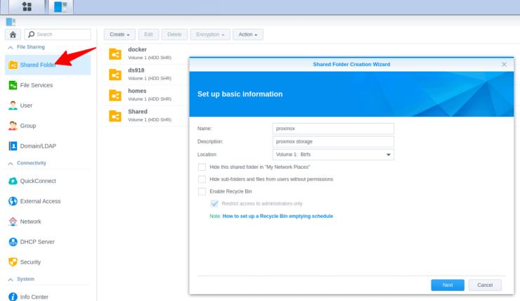 Create a Proxmox Shared Folder on Synology