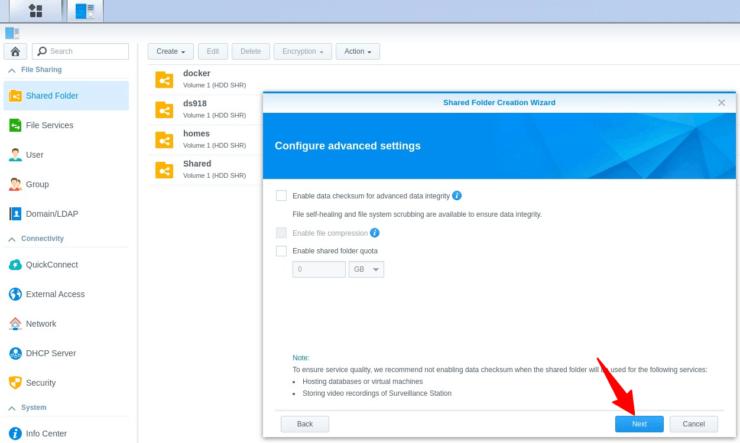 Shared Folder Advanced Settings