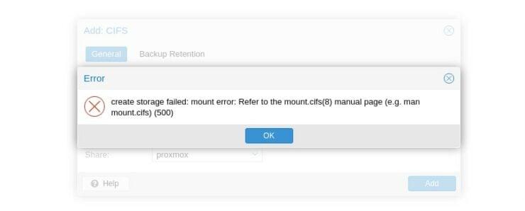 "Synology CIFS ""create storage failed: mount error"""