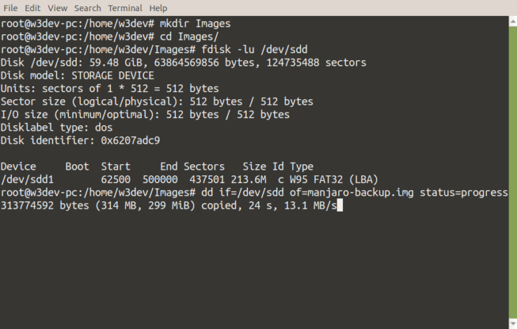 Creating a backup image of a drive with the dd Linux command is displayed with the status of progress on in the command-line interface.