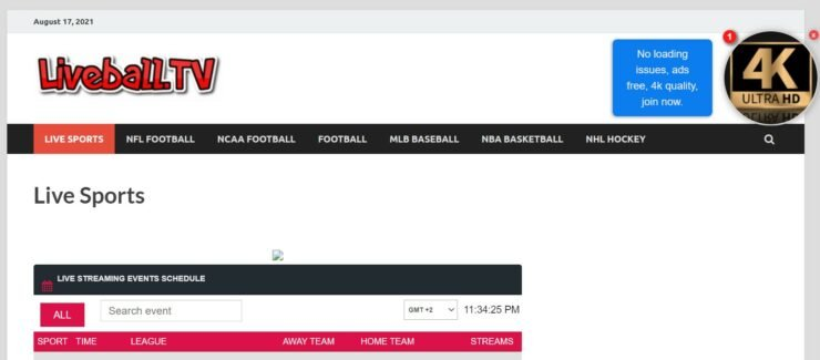 Liveball.tv offers NCAAF streams from various channels