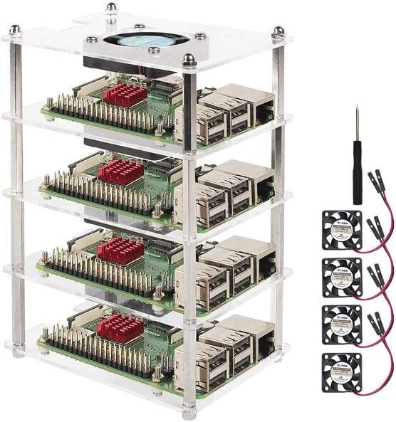 Eau Stackable 4-Slot Raspberry Pi Cluster Case